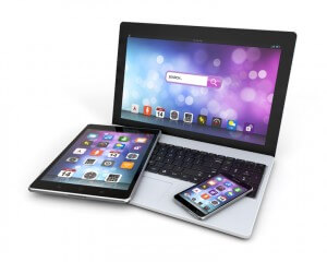 modern devices laptop, smartphone, tablet