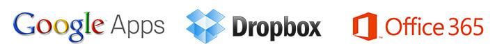 Usługi GoogleApps, Dropbox, Office365